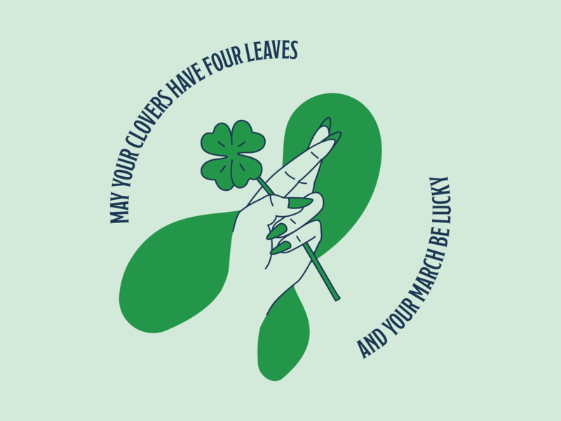 Happy St. Patrick's Day luck hand vector illustration clover lucky good luck st patrick