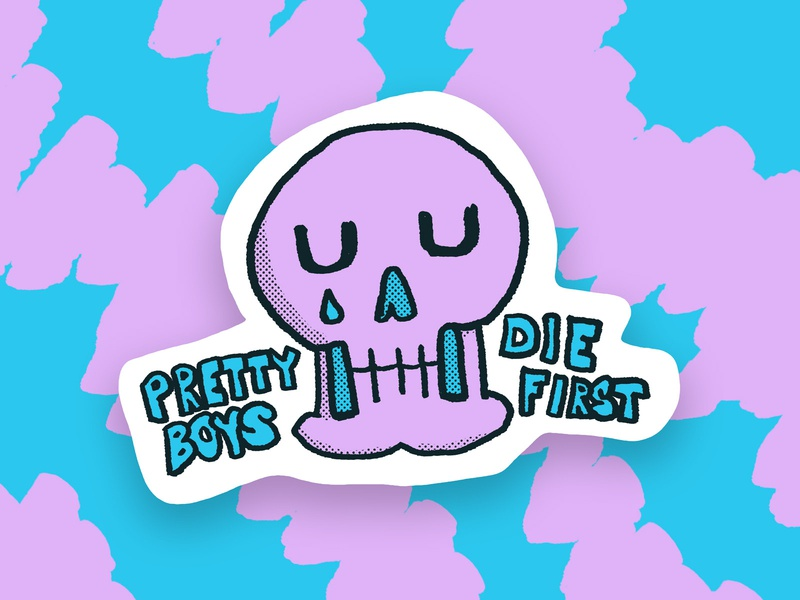 It's hard being this pretty tear skull sad boy society sad hand drawn sticker illustration
