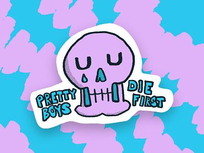It's hard being this pretty tear skull sad boy society sad hand drawn sticker illustration