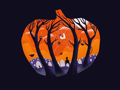 Spooky Halloween illustration 🕸 dribbbleweeklywarmup cobweb horror dark branding spooky procreate illustration orange pumpkin halloween
