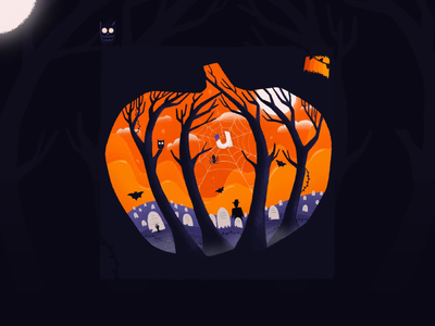 Making of halloween illustration 🎃 zombie haunted process horror owl black orange dark branding pumpkin procreate illustration spooky halloween autumn making of