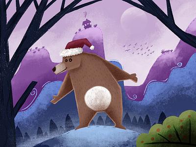 Holiday Cheer, Bear-ly Enforced santa happy cartoon character usertive merry christmas bear illustration christmas xmas holiday