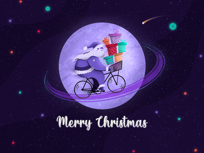 Warmest holiday wishes from outer space procreate illustration usertive xmas bike space gifts santa merry christmas