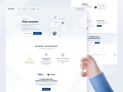 STERY | Website web design graphic design interface ux management app report ui flight website business trip illustrations simple clean minimal web booking travel planning app trip planner
