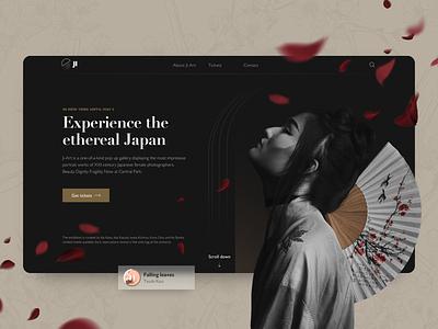 Concept website for art exhibition dark mode photography gallery museum kimoto blossom exhibition web ui ux minimal clean header website landing page design web design concept japanese art japan