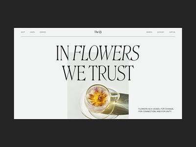 Flower Tea elegant flower nav navigation hero section hero ecomm ecommerce ui design landing type homepage home flowers tea web