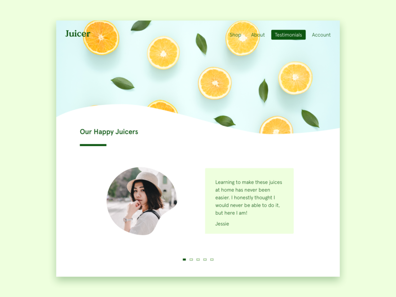 Daily UI #039 healthy orange juice reviews review testimonials app ui web ecommerce dailyui