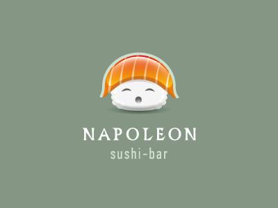 Napoleon sushi bar riсe napoleon head hat logo glance