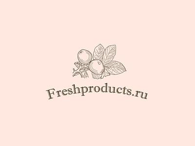Freshproducts fruits shop online store fresh leaf logo engraving food