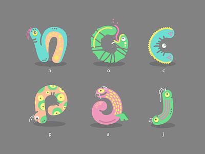 Wormsters letter font worm color logo illustration