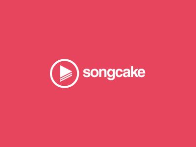 Songcake logo song cake music social red white play burron
