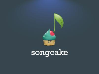 Songcake 2 song cake logo blue cherry cupcake cream leaf music