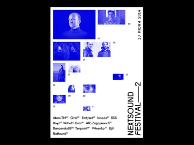 Next Sound Festival chaotic grid blue sound music festival poster