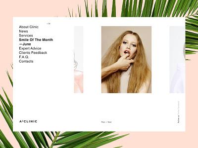 A2 Clinic pastel palm layout helvetica minimalism website medicine clinic fashion model dentist beauty
