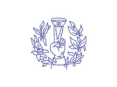 Vitamatcha packaging stamp illustration logo flower leaf cup fingers hand tea matcha