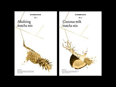 Vitamatcha layout typography 3d poster packaging illustration leaf water fruit tea matcha