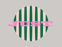 Just round typography lines pink green blog woman femine logo
