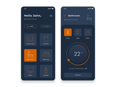 Smart home App night design art temperature smart home ui  ux app design ui design dark orange smarthome smart uidesign mobile ui app design app ux uiux ui mobile design design