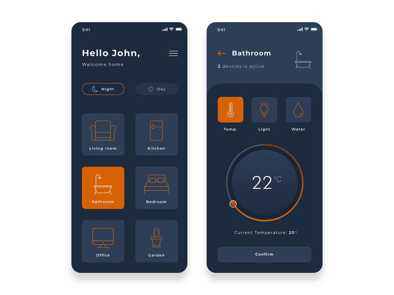 Smart home App night design art temperature smart home ui  ux app design ui design dark orange smarthome smart uidesign mobile ui app design app ux uiux ui mobile design design