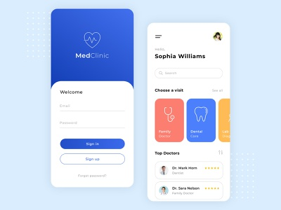 Med Clinic App applications visit application sign up top sign in minimal design app design blue clinic doctor medicine uiux ui mobile ui mobile medical app med