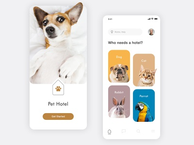 Pet Hotel App clean ui mobile uiux pet care cute pets mobile ui dogs app design mobile app design mobile design mobile minimal pet adoption pet app hotel app cats cat dog pets pet