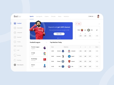 Betting Website better football logo sports design sports ui game ui minimal clean website game design casino website casino design casino betting design betting app salah football sport bet website betting website betting
