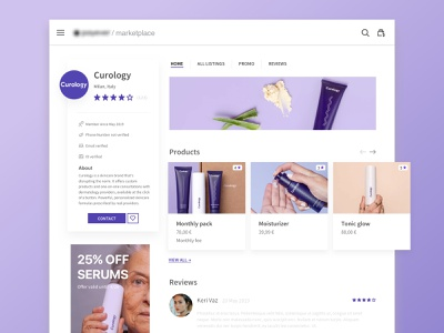 Marketplace business Page Overview overview profile display ad product template layout website web webdesign marketplace ux design ui beauty interface