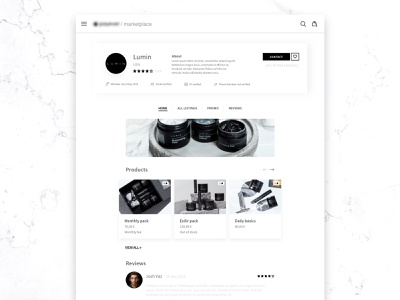Marketplace business Page Overview visual interface website application app ecommerce marketplace ux ui minimal layout graphic design
