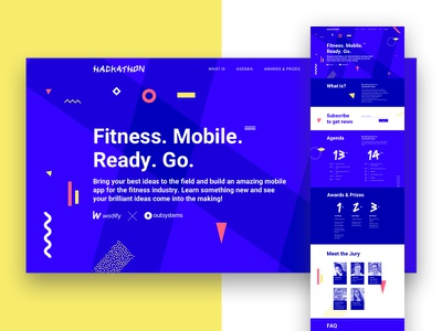 Hackathon site landing ux website outsystems hackathon ui layout design mobile fitness technology