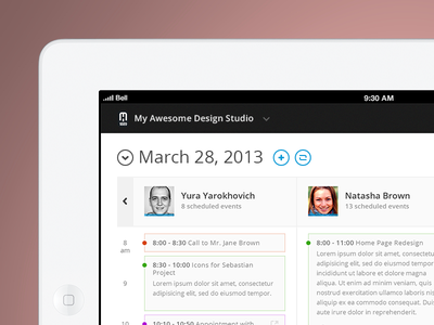 Calendar - Daily View task meeting add circle minimal black website web responsive timesheet ux ui design app ios calendar event grid timeline