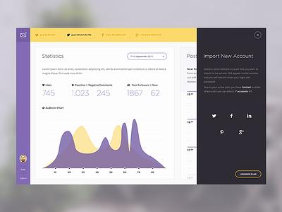 Social Content Management Concept social minimal black yellow purple flat ipad web ux ui