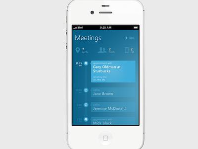 Experiment with Metro UI iphone app clean minimal interface ui ux ios blue timeline meetings planner experiment metro metro ui flat
