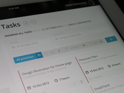 Today Page (refactoring) app clean interface ipad ui ux tasks filters