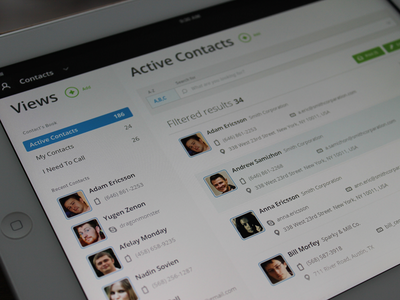 Contacts app clean interface ipad ui ux contacts simple blue green grid