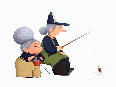 The babulechki oldy cute art doodle sketch cartoon concept 2d old fish fisherwoman fisherman fishing grandmother grandma granny characterdesign character illustration