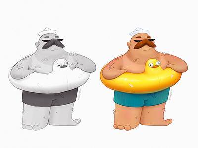 Beach man vacation concept sun glasses moustache fat tan beach summer sea rubber duck man characterdesign character design character doodle sketch cartoon 2d art design illustration