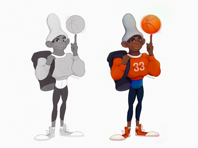 Gerald concept art concept 2d art cool red sportsman basketball sport guy man teen cartoon doodle sketch charcter design character design illustration