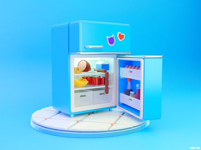 GLUTTONY 😋 heart soda cola blue model sausage home milk meat cheese egg banana meal eat fridge food kitchen blender3d blender 3d