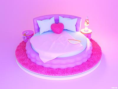 LUST 🥰 room house 3d art pilow pink interior furniture sex couple love heart cartoon cozy home bedroom bed blender3d blender model 3d