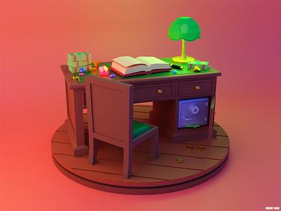 GREED 🤑 furniture accountant desktop luxury rich safe lamp table chair desk book ruby gem money gold coin blender 3d game illustration