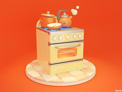 WRATH 😡 3d artist model art egg meal eat cute cartoon kettle pan pot red fire stove cooking cook kitchen blender 3d illustration