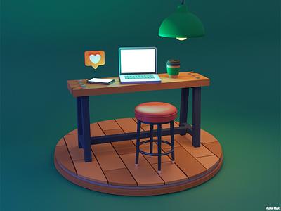 ENVY 😒 table desk desktop hipster craft smartphone phone networking social media socialmedia heart like mac laptop blender model 3d coffee design illustration