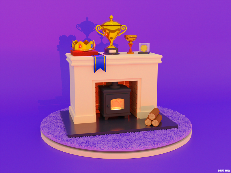 PRIDE 🧐 purple 3d art blender3dart achievement pride medal ribbon tape stove house home cozy fireplace fire crown 3d blender cup gold illustration