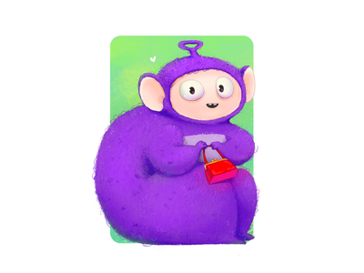 Tinky-Winky fun 2d art photoshop characterdesign smile teletubbies tinky-winky children purple bag cute cartoon character design illustration