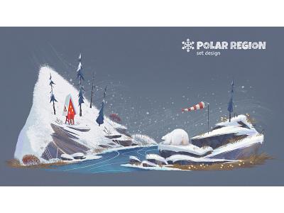 ❄️ POLAR REGION ❄️ illustraion location concept house bear polarbear freeze cold polar snow winter north pole north northern