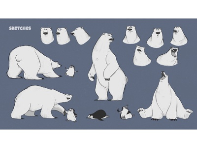 Polar Bear Sketches cartoons poses emotions emotion concept character sketch animal north penguine polar bear polarbear polar