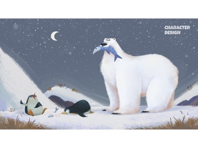 Polar Bear Concept freeze cold night animal art visual development concept north pole snow winter fish penguin animal polar bear polarbear polar nordic north illustration