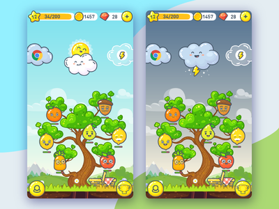 LingvoTree UI cute fun gui mountain sky cloud ui smile fruit sun game flat line tree
