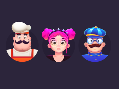 LingoLand Characters glasses costume outfit smiles hatch machineast cook spike moustaches pink hair pink girl man concept avatar character app game