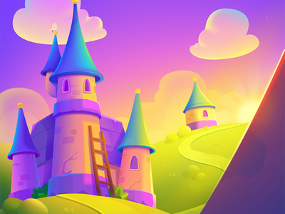 LingoLand Background cute sunset castle design match3 match 3 casual mobile game app app background game